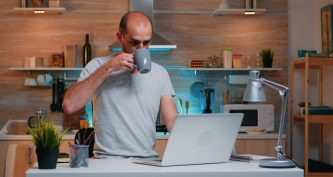 Freelancer working from home drinking coffee