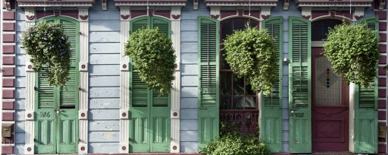 Hanging plants in front of house in New Orleans, Louisiana